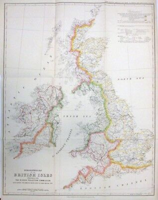 Map of the British Isles for The Rivers Pollution Commission 1874 MAP