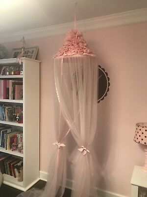 Pottery Barn Kids PBK Bed Canopy Pink Ruffles Tulle EUC