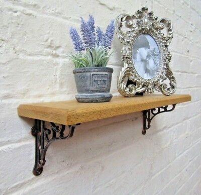 SOLID OAK WOOD HANDMADE SHELVES rustic wooden Shelf cast iron shelf brackets