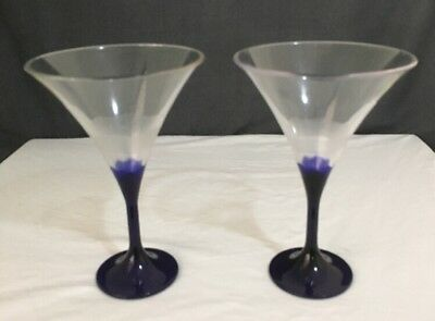2 Tupperware Martini / Wine Glasses Clear & Blue Good Condition