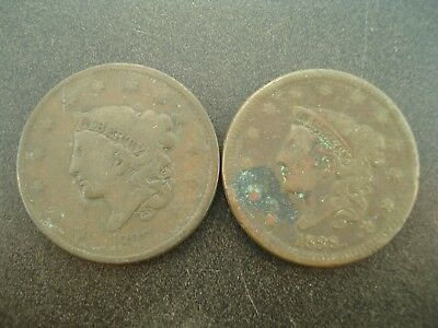 1837 & 1838 U.S. Matron Coronet Head Large Cents 1c Coins  **NO RESERVE**