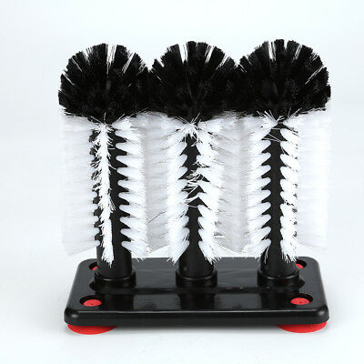 3 Brush Head Set Glass Cleaner Scrubber Washer Pub Bar NEW