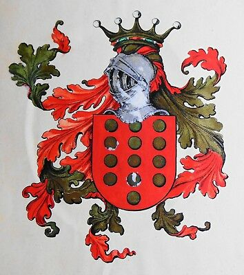 Authentic Antique Painted Coat of Arms on Paper, Sarmento, Portugal ca 1910.