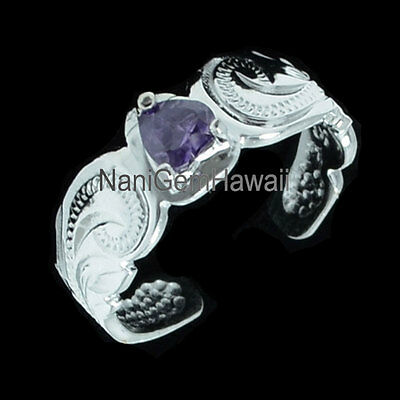 Hawaiian 925 Sterling Silver CZ Heart Shape Scroll Toe Ring