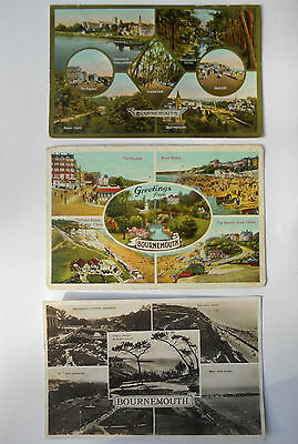 Group of Three Vintage Postcards Bournemouth Dorset Social History