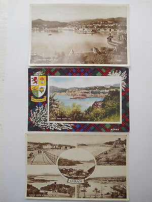 Group of Three Vintage Postcards Scotland Oban Pulpit Hill Unposted