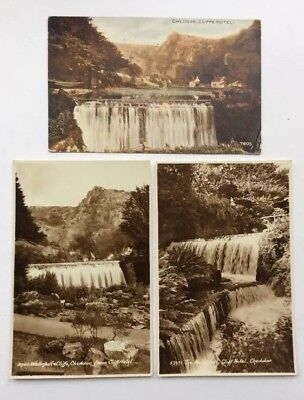 Group Of Three Vintage Postcards Cheddar Cliffs Hotel Waterfall