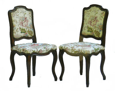 Pair French Side Chairs early 20th Century Louis c1920 Uphostered to restore