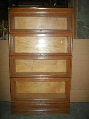 Macy Antique Oak Lawyer / Barrister 4 stack Bookcase with crown & base