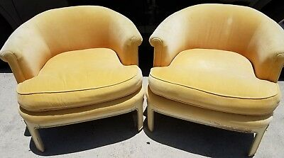 Vintage Pair of Modern Tomlinson Low Profile Barrel Style Armchairs
