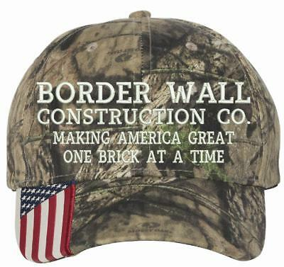 Donal Trump Border Wall Construction Company Mossy Oak Embroidered Hat CWF305