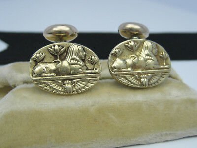 Antique Victorian Egyptian Revival 14K Gold Cufflinks Sphinx Winged Scarab Lotus
