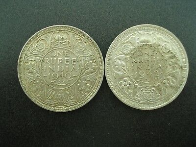 1940 & 1942 India 1 Rupee Silver Coins  **NO RESERVE**