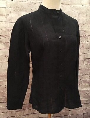 f3dc140f7b TALBOTS Petites Size 2P Linen Black Long Sleeve Button Front Career Blouse