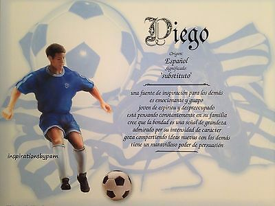 Diego First Name Meaning Art Print-8x10 Personalized Art-Soccer