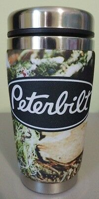 PETERBILT Stainless Steel TRAVEL MUG 16 OZ. WITH NEOPRENE COVER, CAMO