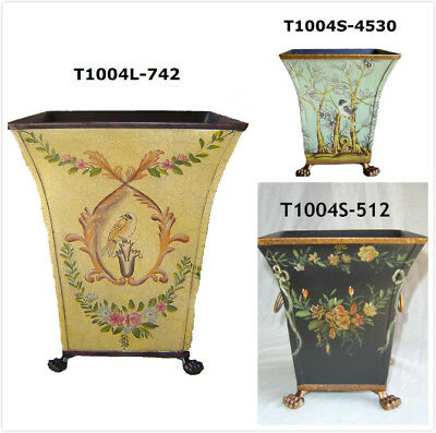 """7"""" Hand Painted Wastebasket Bin Container/Orchid Planter"""