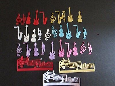 DIE CUTS MUSIC SETS  6 MUSIC NOTES 3 variety of colours CARDSTOCK