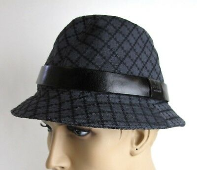 dc4846f1 New Gucci Black Charcoal Diamante Canvas Fedora Hat Medium 2 200036 1160