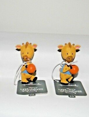 Two (2) HALLMARK 2016 Merry Miniatures~Giraffe Basketball Players ~ NEW With Tag