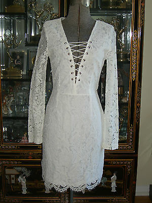a09bdce8c712 NWT MISSGUIDED WHITE Lace Tie Up Front Mini Dress Us6 Uk10 -  50.00 ...