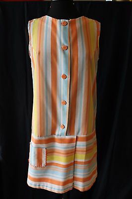 50s 60s Vintage Romper Stripes Skort Skirt Buttons Wrap Style Medium XL 38B
