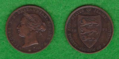 States Of Jersey Victoria Half Penny 1/24 Of A Shilling 1877  ---  Paes