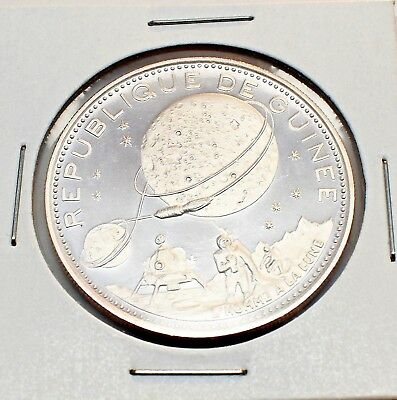 1970 Guinea 250 Francs Cameo Gem Proof Silver Moon Landing Coin