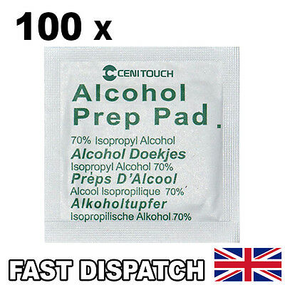 100 x 70% Isopropyl Alcohol Swabs Wipes For CPU LED Screens Piercings NHS Grade