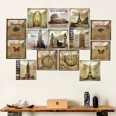 Stamps Of Building Style Tin Sign Bar Store Home Wall Decor Metal Poster 20x20cm