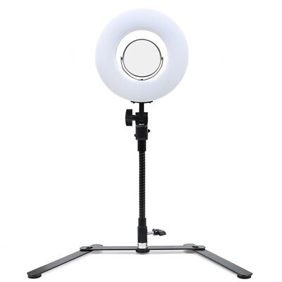 """8"""" Dimmable Ring Fluorescent Flash Light Camera Photo Video With Stand & Mirror"""