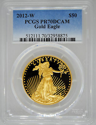 2012-W PCGS PR70 DCAM $50 GOLD American EAGLE 1 Ounce gold PF West Point Proof