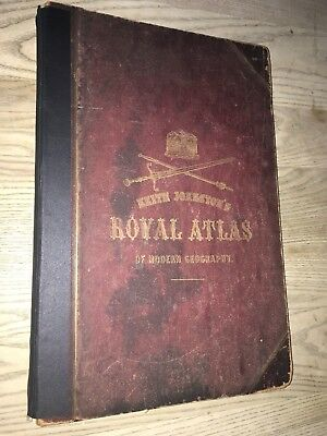 1861 Royal Atlas Of Modern Geography By Johnston 48 Hand Coloured Maps Folio