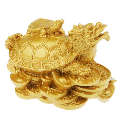 Wealth &Money Dragon Tortoise Statue Figurine Good Lucky Home/Car Decor Gold