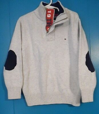 Tommy Hilfiger Light Gray Sweater Elbow Patches Boys Size 6 100% Cotton