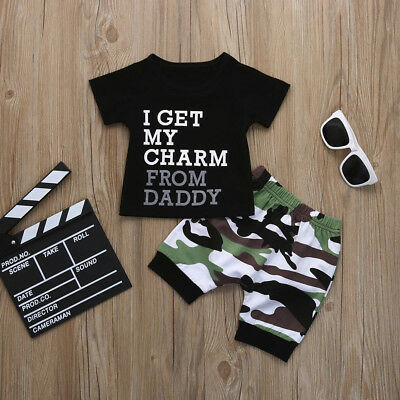 Toddler Kids Baby Boys Letter T Shirt Top+Camouflage Shorts Outfits Clothes Set