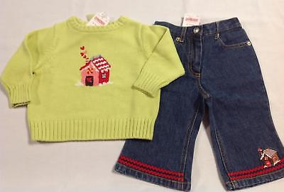 NWT Gymboree SUGAR & SPICE lime green gingerbread house sweater jeans set 6-12
