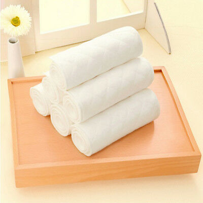 1/5/10 PCS Reusable Baby Cloth Diaper Nappy Liners insert 3 Layers Cotton White