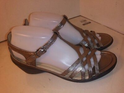 708325ff2d91 ECCO ANKLE STRAP Leather Metallic Sandals Open Toe Womens Size 40 ...