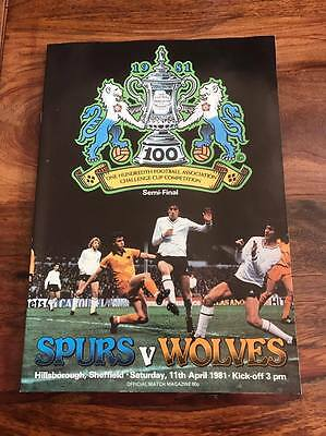 Spurs V Wolves 1981 Fa Cup Semi Final Programme Mint Free Postage Look