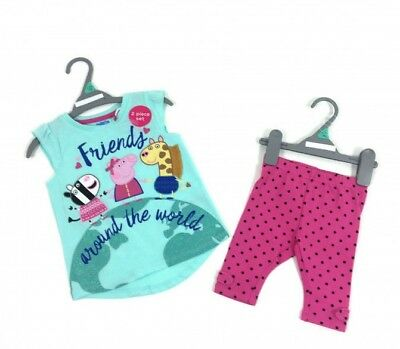 Peppa Pig & Friends Girls Top & Pink Spotty Leggings Set  Age 2 3 4 5 Years NEW
