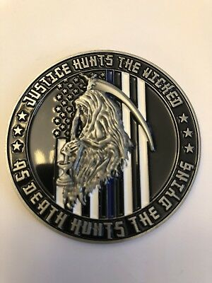 Reaper-Thin Blue Line-Blue Lives Matter LEO Police Challenge Coin
