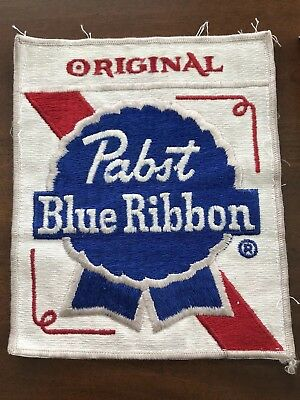 PABST BLUE RIBBON BEER ORIGINAL PBR PATCH Vintage Collectible Sew On X-LARGE