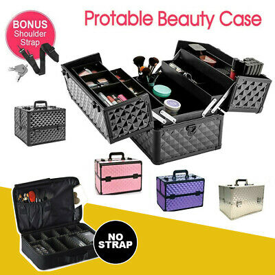Portable Beauty Makeup Cosmetic Case Organiser Carry Bag Box Diamond w/ Strap