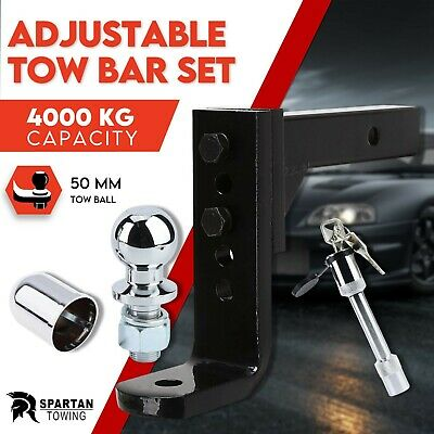 Adjustable Towbar Tow Bar Ball Mount Tongue Hitch Trailer 4WD Car 3500KG 3.5T