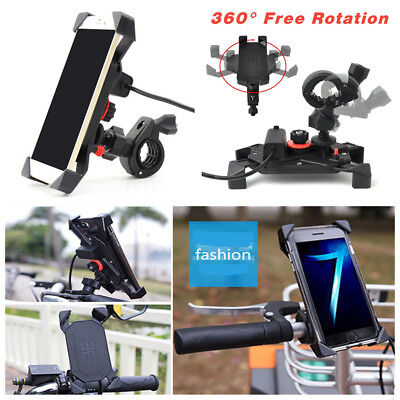"Universal 7/8"" Motorcycle 360°Rotation Phone Mount Holder With 5V 2A USB Charger"