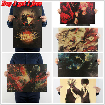 Japanese Cartoon Tokyo Ghoul Kaneki Posters Kraft Paper Wall Decorative Picture