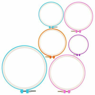 6 Pieces Embroidery Hoops Cross Stitch Hoop Embroidery Circle Set for DIY A T1S8