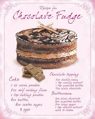 "10"" x 8"" CHOCOLATE FUDGE CAKE RECIPE BAKERY BAKE KITCHEN METAL PLAQUE SIGN 1177"