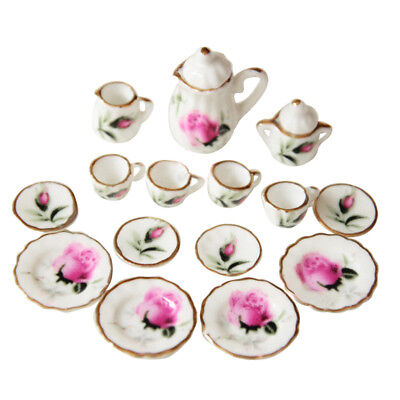 Lot of 15 Rosebud Porcelain Dollhouse Miniature Coffee Tea Cup Set Z5J5